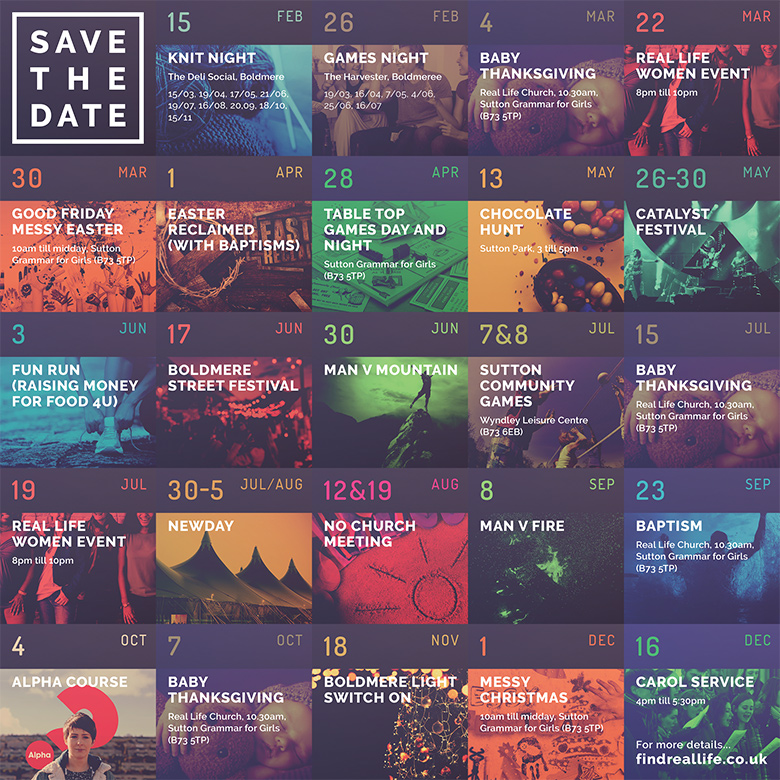 Church Leaflet Design: Real Life Church – Save the Date